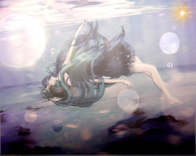 海の中の髪を解いたドレス姿の初音ミクの美しいイラスト壁紙画像