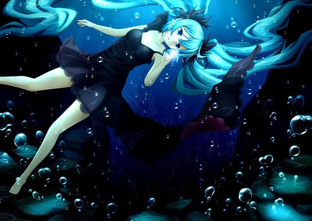 海中の泡と初音ミクの美しいボカロイラスト壁紙画像