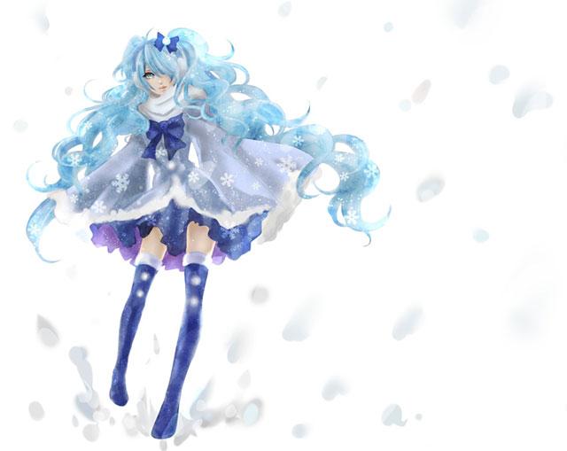 雪とカーリーヘアーの初音ミクの綺麗なイラスト壁紙画像