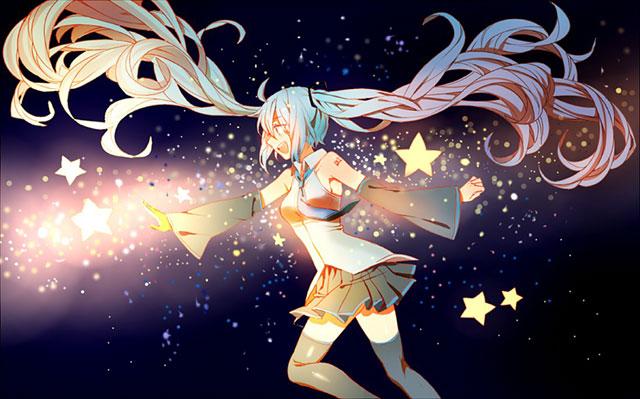 夜空にきらめく星と初音ミクの綺麗なイラスト壁紙画像