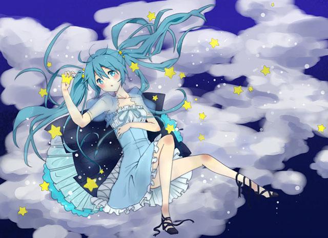 夜空に浮かぶ雲と星とミクの可愛いボカロイラスト壁紙画像