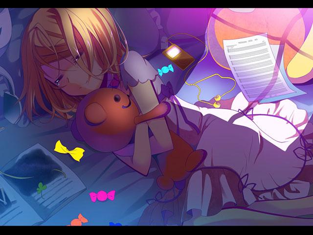 クマのぬいぐるみを抱きしめる鏡音リンの可愛いイラスト壁紙画像