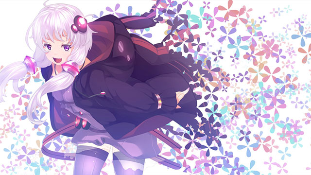 たくさんの花と結月ゆかりのカラフルで綺麗なイラスト壁紙画像