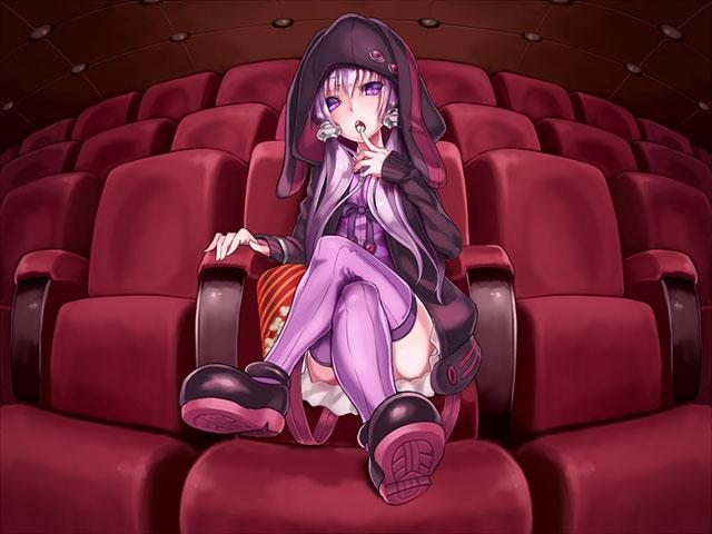 映画館の椅子に足を組んで座る結月ゆかりのイラスト壁紙画像