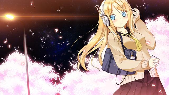 夜桜と制服を着たリリィの可愛いボカロイラスト壁紙画像
