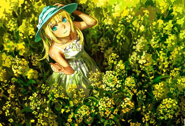 一面黄色の花畑の中のLilyの可愛いボカロイラスト壁紙画像