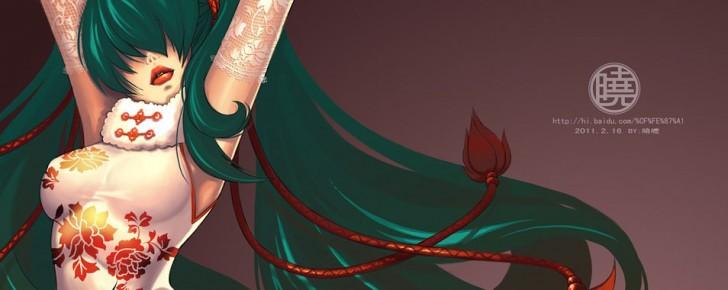 【初音ミク】チャイナドレス姿の綺麗なイラスト画像【ボカロ壁紙】