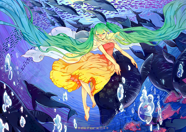 ドレスを着た初音ミクとイルカや海の魚達のイラスト壁紙画像