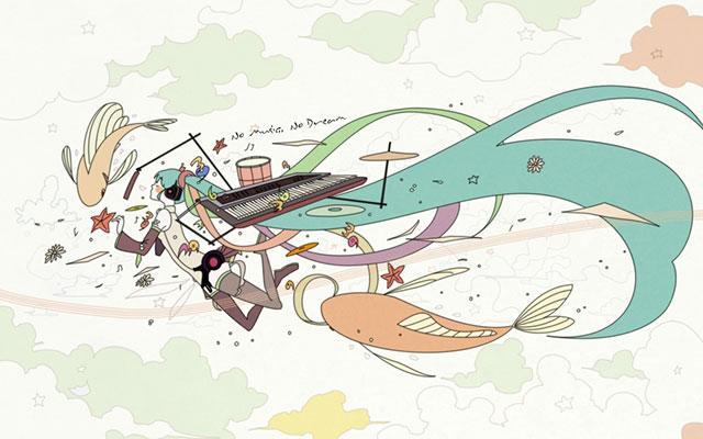 キーボードやドラムセットと空を飛ぶ魚とミクのイラスト壁紙画像