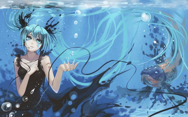 水中で黒いドレスを着た初音ミクと魚の綺麗なイラスト壁紙画像