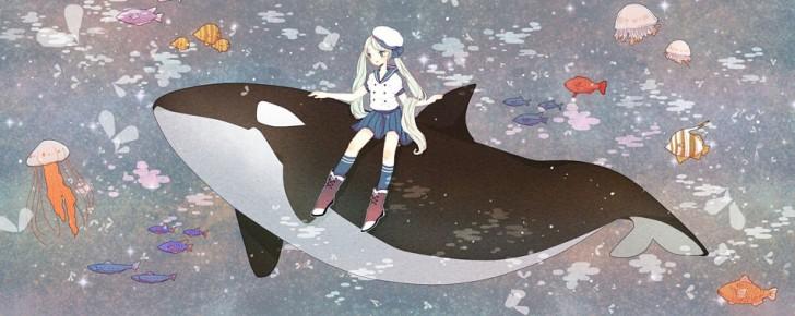 【初音ミク】魚や海の生き物のイラスト画像【ボカロ壁紙】