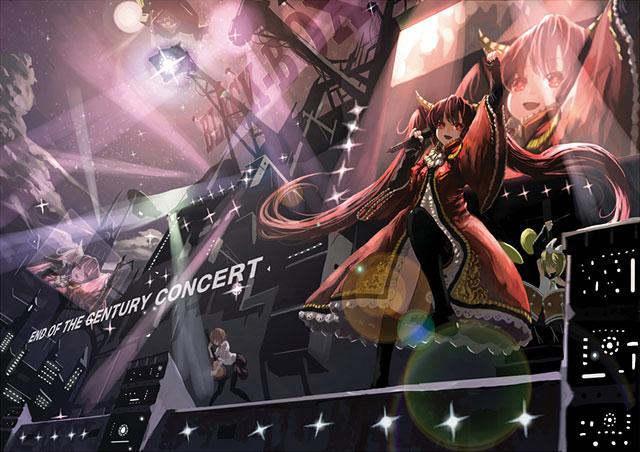 ライブステージで楽しそうに歌う初音ミクのかっこいいイラスト壁紙画像