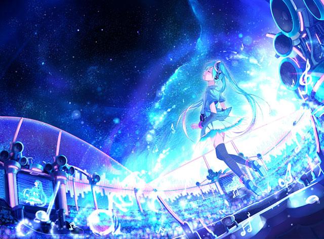 星空の下ライブステージで歌う初音ミクの綺麗なイラスト壁紙画像