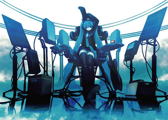 スタンドに立てられたモニターやギターと初音ミクのクールなイラスト壁紙画像