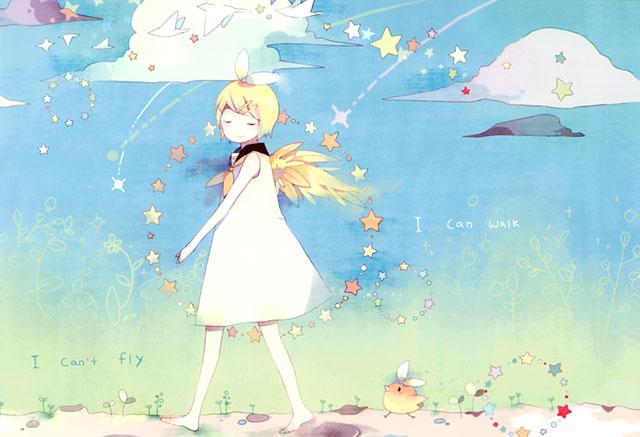 裸足で歩く鏡音を水彩タッチで描いた可愛いイラスト壁紙画像