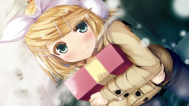 プレゼント箱を持った冬のリンの高解像度なイラスト壁紙画像