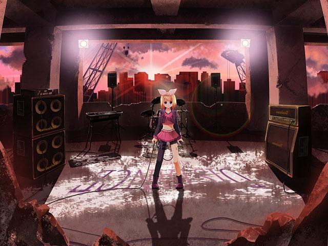 廃墟でライブする鏡音リンの綺麗なボカロイラスト壁紙画像