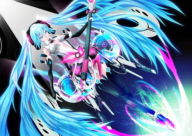 ギターを持った翼のような髪のアペミクの美しいイラスト壁紙画像