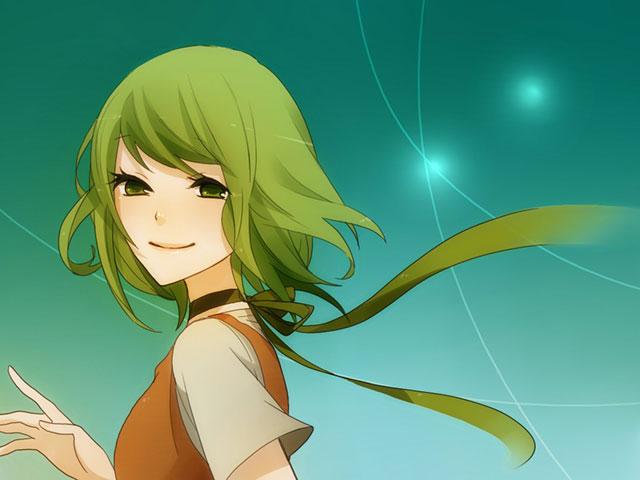 グリーンの背景と微笑むGUMIの綺麗なボカロイラスト壁紙画像