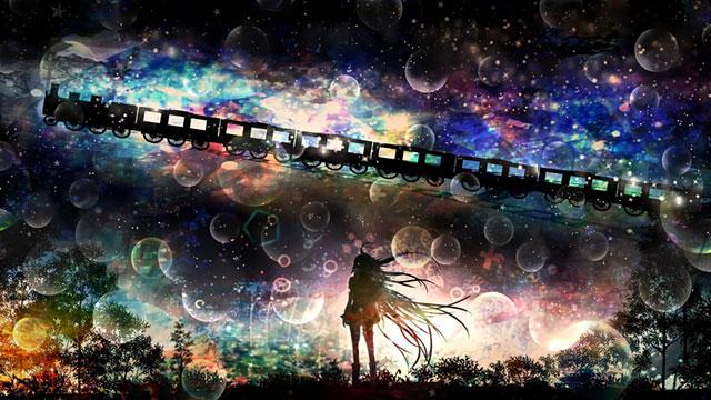 IAと空を走る列車をシルエットで描いた美しいイラスト壁紙画像
