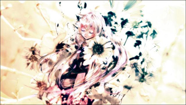 花とIAを淡い色合いで描いた綺麗なボカロイラスト壁紙画像