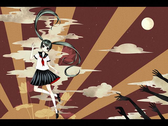 セーラー服姿の初音ミクを描いた和風なイラスト壁紙画像