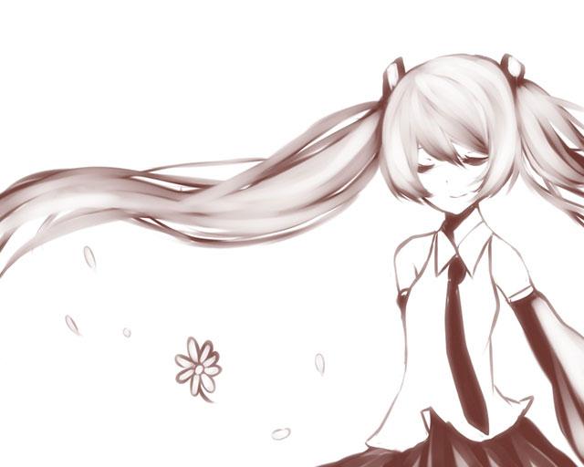 笑顔で目をつぶるミクを単色塗りで描いた可愛いイラスト壁紙画像