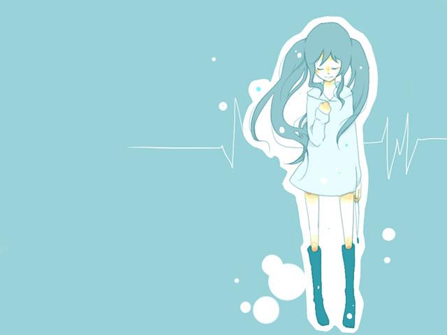 青背景に青で初音ミクを描いた可愛いボカロイラスト壁紙画像