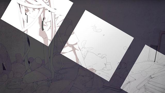 部屋の中の初音ミクを単色塗りで描いたイラスト壁紙画像