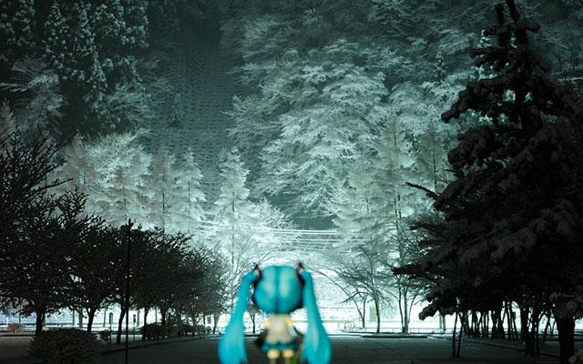 雪景色と初音ミクのねんどろいどの後ろ姿の綺麗な写真壁紙画像