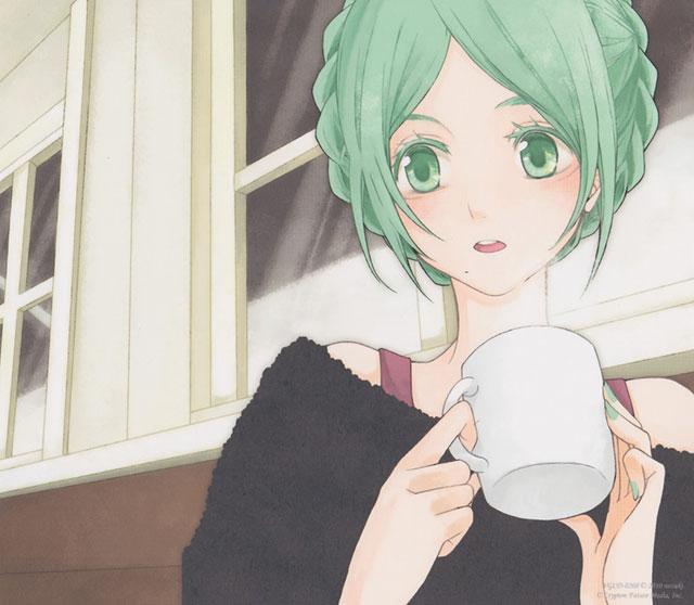 髪をまとめたコーヒーを飲む初音ミクの日常っぽいボカロイラスト壁紙画像