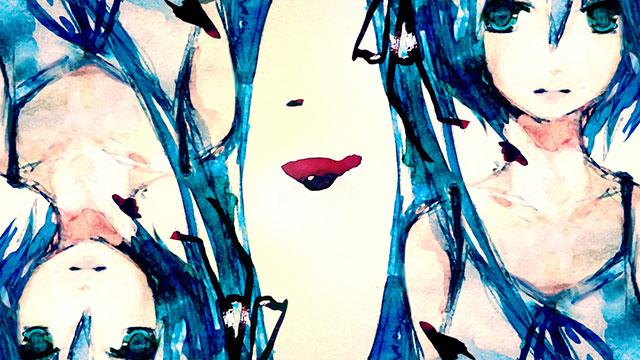 粗い水彩タッチで二人の初音ミクを描いた美しいボカロイラスト壁紙画像
