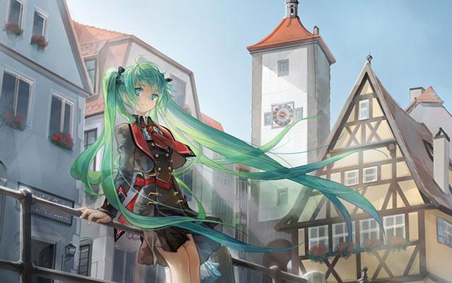 ヨーロッパの街並みと初音ミクの美しい水彩塗りのイラスト壁紙画像