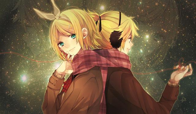 星空の背景と同じマフラーをするリンとレンのボカロイラスト壁紙画像
