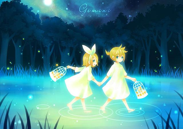 夜の森の中の湖で星を集めるリン・レンの可愛いイラスト壁紙画像