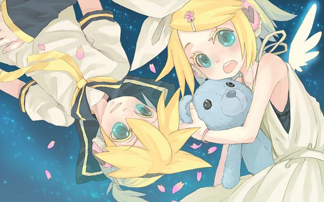 星空と鏡音レンとぬいぐるみを抱くリンの可愛いイラスト壁紙画像