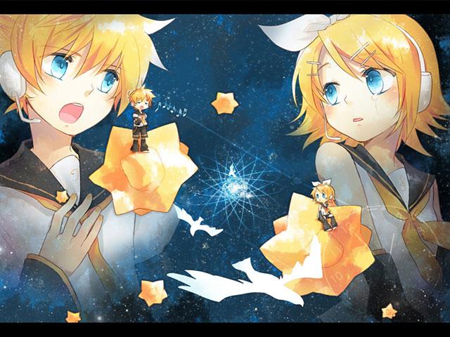 星に乗った鏡音リンと鏡音レンの綺麗なボカロイラスト壁紙画像