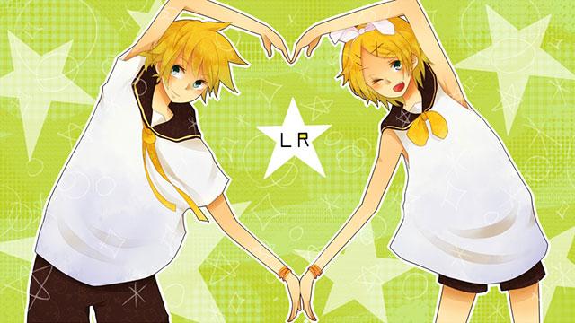 星柄背景とハートを作るリンとレンのボカロイラスト壁紙画像