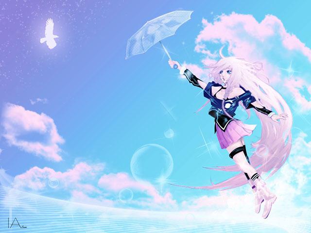 傘を持って空を飛ぶイアと白い鳥の爽やかなボカロイラスト壁紙画像