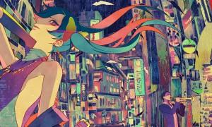 【初音ミク】夜景とミクの綺麗なイラスト壁紙【ボカロ画像】